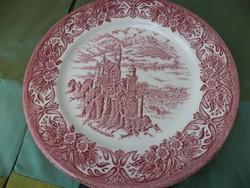 Pink angol fajansz tányér  lapos 25cm 2db