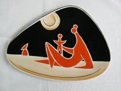 Zsolnay porcelán art deco tál Török J. anya gyermekével