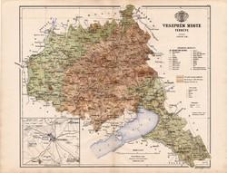 Veszprém megye térkép 1886 (4), Magyarország, vármegye, atlasz, Kogutowicz Manó, 43 x 56 cm, eredeti
