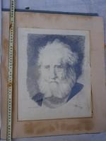 Magyar művész régi, őrülten aprólékos kidolgozású portréja, szignós, datált