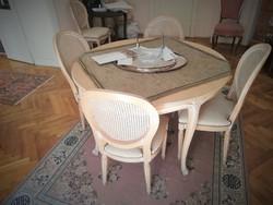 XVI Lajos stílusú ebédlő pácolt fenyő ebédlő medaillon székekkel a Firenzei gyárból, utángyártott