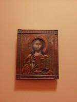 Vörösréz orosz ikon, fa táblán