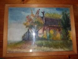 Remek akvarell, keretben, azonnal falra helyezhető állapotban