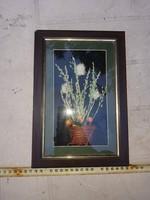 Helyes, kézzel készített, mèlyített keretben lévő virágcsendélet, igazi növényekből, szép keretben