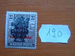 20 FILLÉR 1920 Búzakalász felülnyomat a Magyar Tanácsköztársaság Magyar Posta Arató 190#