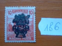 10 FILLÉR 1920 Búzakalász felülnyomat a Magyar Tanácsköztársaság Magyar Posta Arató 186#