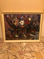 Séday Éva nagyméretű virágcsendélet gyönyörű színekkel -60x80 cm- jó áron!