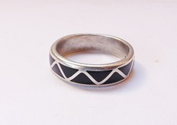 Zománc díszítésű sterling ezüst gyűrű