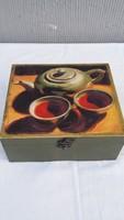 Teás doboz, tea filter tartó doboz fából, szép borítással