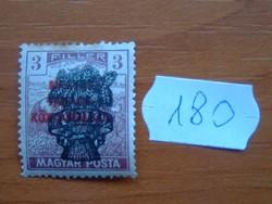 3 FILLÉR 1920 Búzakalász felülnyomat a Magyar Tanácsköztársaság Magyar Posta Arató 180#