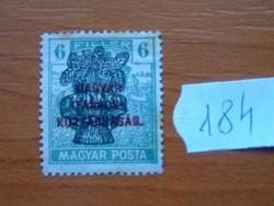 6 FILLÉR 1920 Búzakalász felülnyomat a Magyar Tanácsköztársaság Magyar Posta Arató 184#