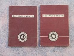 Tagsági könyv Biztosito,2 db