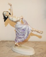 Táncosnő - Herendi porcelán ritkaság! Jelzett, eredeti, hibátlan darab!