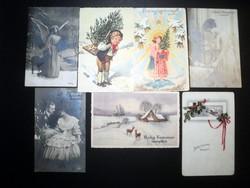 Hét darab régi karácsonyi művészi képeslap
