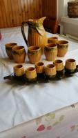 Retro leveles pálinkás készlet,Magyarszombatfai kerámia, kukorica mintás boros készlet