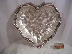 Fém - ezüstözött - szív alakú tál - nagy 28 x 28 x 5 cm - Német - hibátlan