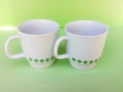 Retró Alföldi zöld pöttyös csésze pár