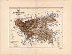 Alsó - Fehér megye térkép 1888 (4), vármegye, atlasz, eredeti, Kogutowicz, Gyulafehérvár, 43 x 56 cm