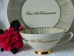 Az első Úrvacsora emlékére porcelán teás szett, csésze kistányér