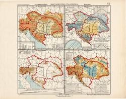 Osztrák - Magyar Monarchia talajemelkedés és éghajlat térkép (ek) 1913, eredeti, atlasz, Kogutowicz