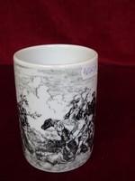 Angol porcelán bögre, jelenetet ábrázol, 10 cm magas, átmérője 7 cm.