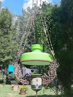 Szecessziós majolika luszter petróleum csillár, függő lámpa