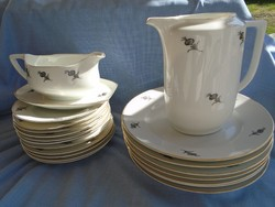 Skandináv királyi porcelán süteményes és teás kiöntő +szószos kínáló +nagyméretű lapostányér