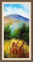 Szép élénk színek mező festményben