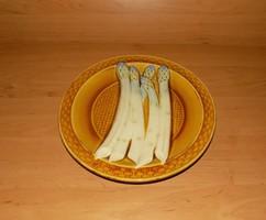 Sarreguemines majolika dísz kínálótál spárga domború mintával átmérő 25 cm (2p)