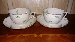 Herendi antik zöld virág mintás teáscsésze pár