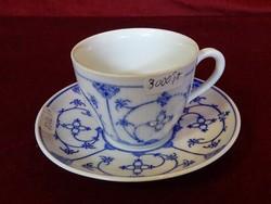 Musselmalet/helblonde német porcelán kávéscsésze + alátét.