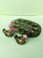 Retró mázas kerámia tojástartó tyúkocskás, kakaskás fűszertartókkal