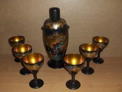 Antik kínai lakkozott fa teás készlet 6 személyes (19/d)