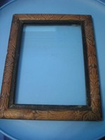 U10 Antik, Rózsafa üveglapos  Keret,díszes faragott jelzett 29 x 24 cm