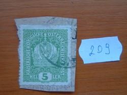 AUSZTRIA OSZTRÁK 5 HELLER 1916 címer 209#