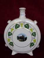 Hollóházi porcelán kulacs, szőlőlevél mintás, Győr fotóval.