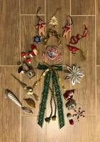 Karácsonyfadísz csomag, üveg, fém, fólia és egyéb díszek, csúcsdísz