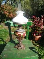 MAJOLIKA petróleum lámpa, antik petroleumlampa