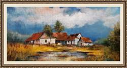 Tanyavilág olaj festmény kistanya 2 olajfestmény szép keretben ingyenes házhoz szállítással