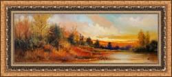 Egy gyönyörű naplemente  olajfestmény szép keretben ingyenes házhoz szállítással