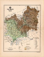 Ung megye térkép 1888 (4), Magyarország, vármegye, atlasz, eredeti, Kogutowicz, 43 x 56 cm, Ungvár