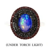 Valodi Termeszetes 9x7mm Opal Spinel Granat 925 Ezust Gyuru