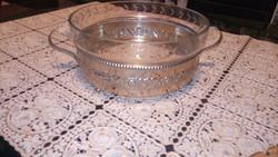 Üveg asztalközép, tálaló fém tartóban