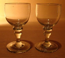 Antik fújt üveg borospohár 2 db pohár