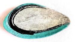Gorka Lívia kerámia Türkiz kavics tál asztalközép kínáló tál 44cm