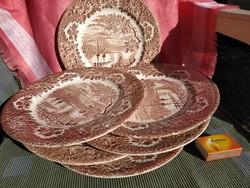 6 db. nagy lapos jelenetes angol tányér