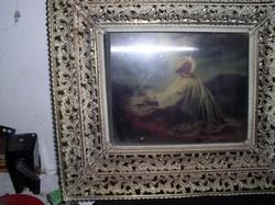 Üvegfestmény díszes fémkeretben  19 x 23 cm, külső méret 34 x 38 cm