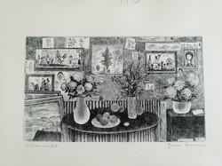 Gross Arnold eredeti, fekete fehér rézkarca: Műteremrészlet