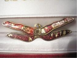 Antik több színű Tűzzománc pillangó bross vagy függő kétfunkciós