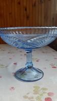 Antik kék üveg , talpas, díszes gyümölcs tartó eladó!